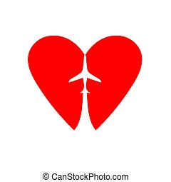 Plane in the heart. Hand drawn vector illustration isolated on white, logo, t-shirt design