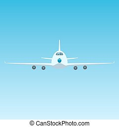 Plane in the Sky, Front View of Airplane