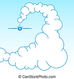 Plane in the sky in the clouds. Vector illustration
