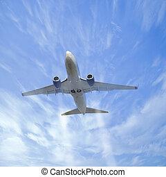 Plane in the sky.