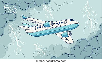 Plane in the storm, airliner flying through dark stormy clouds and lightning of thunderstorm, beautiful thin line 3d vector illustration.