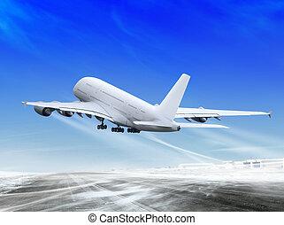 plane is landing away - white passenger plane is landing...