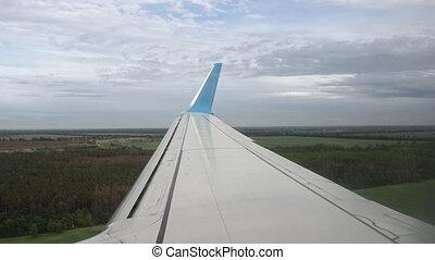 Plane is preparing for landing in European airport