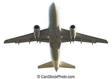 plane isolated on white - passenger jet airplane isolated on...
