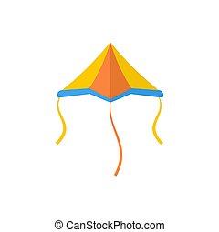 Plane kite icon, flat style