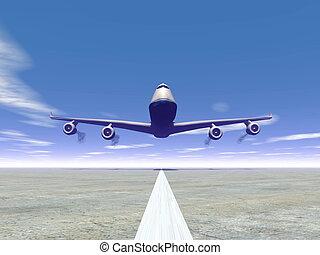 Plane landing - 3D render - Frontview of a airplane landing...