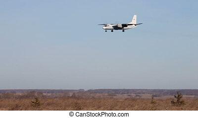 CHELYABINSK %u2013 NOVEMBER 19: Airplane landing November 19, 2010, Airport %u201CChelyabinsk%u201D, Chelyabinsk, Russia. Airplane flying and gradually landing