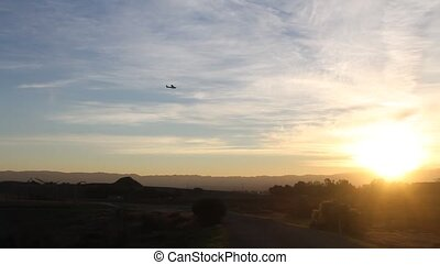 Plane landing in airport