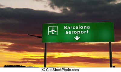 Airplane silhouette landing in Barcelona, Spain, Catalonia. City arrival with airport direction signboard and sunset in background. Trip and transportation concept 3d animation.