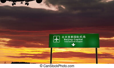 Airplane silhouette landing in Beijing, PEK, China. City arrival with airport direction signboard and sunset in background. Trip and transportation concept 3d animation.