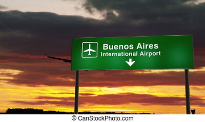 Airplane silhouette landing in Buenos Aires, Argentina. City arrival with airport direction signboard and sunset in background. Trip and transportation concept 3d animation.
