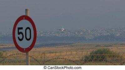 Plane landing in city airport