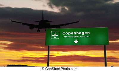 Airplane silhouette landing in Copenhagen, Denmark, Europe. City arrival with airport direction signboard and sunset in background. Trip and transportation concept 3D rendering animation.