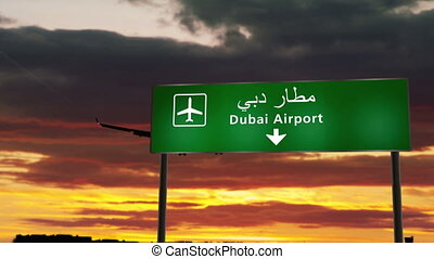 Airplane silhouette landing in Dubai, United Arab Emirates, UAE. City arrival with airport direction signboard and sunset in background. Trip and transportation concept 3d animation.