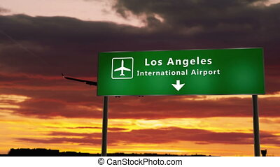 Airplane silhouette landing in Los Angeles, California, USA, United States. City arrival with airport direction signboard and sunset in background. Trip and transportation concept 3d animation.