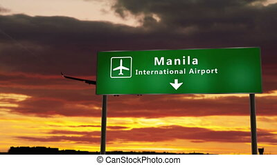 Airplane silhouette landing in Manila, Philippines. City arrival with airport direction signboard and sunset in background. Trip and transportation concept 3d animation.