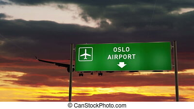 Airplane silhouette landing in Oslo, Norway. City arrival with airport direction signboard and sunset in background. Trip and transportation concept 3d animation.