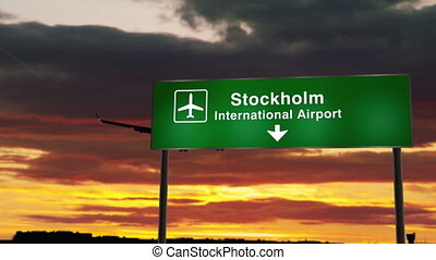 Airplane silhouette landing in Stockholm, Sweden. City arrival with airport direction signboard and sunset in background. Trip and transportation concept 3d animation.