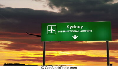 Airplane silhouette landing in Sydney, Australia. City arrival with airport direction signboard and sunset in background. Trip and transportation concept 3d animation.