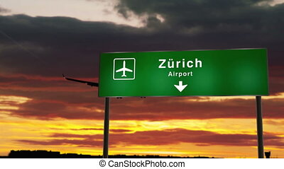 Airplane silhouette landing in Zurich, Z?rich, Switzerland. City arrival with airport direction signboard and sunset in background. Trip and transportation concept 3d animation.