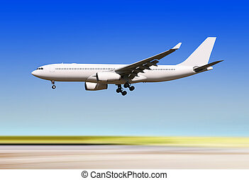 plane landing over runway of airport