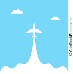 Plane launch to sky against isolated on a blue background with clouds. Airplane flight path banner