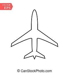 plane line icon on white background eps10
