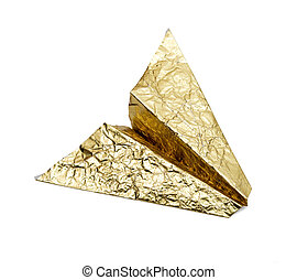 Plane of gold foil on a white background