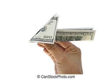 Plane of hundred dollar bills