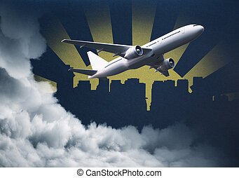 Plane on abstract background