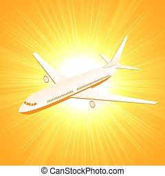 Plane on sun background
