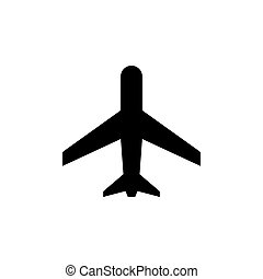 Plane or aircraft glyph icon isolated on white. Aviation ...