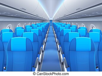 Plane or airplane cabin interior with seats and windows ...