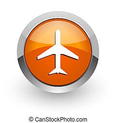 plane orange glossy web icon