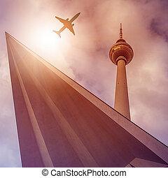 Plane over Fernsehturm