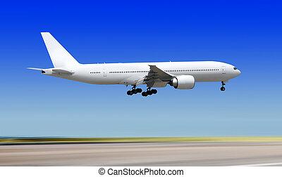 plane over runway of airport