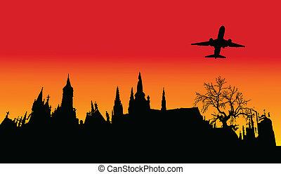 plane over the castle illustration