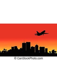 plane over the city four illustrati