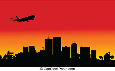 plane over the city one illustratio