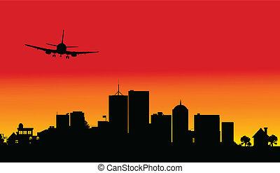 plane over the city three illustrat