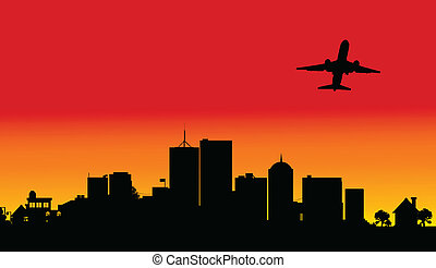 plane over the city two illustratio