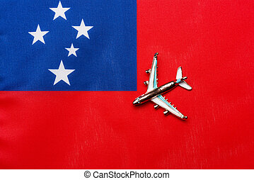 Plane over the flag of Samoa the concept of travel and tourism.