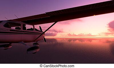 Plane over the ocean.