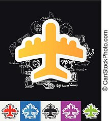 plane paper sticker with hand drawn elements
