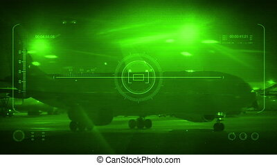Plane Passes On HUD Night Vision Display - Military pov with...