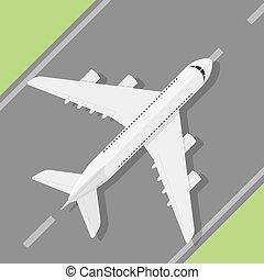 Plane - Picture of civilian plane standig on landing strip,...