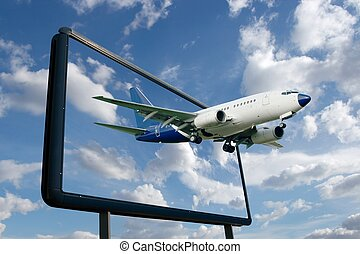 Plane - Airliner flying out of a billboard