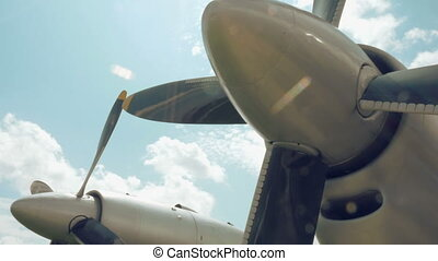 Plane propellers are shown in a close up. Video can be used...