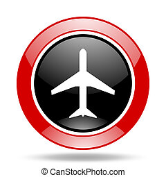 plane red and black web glossy round icon