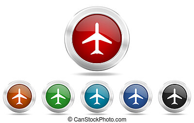plane round glossy icon set, colored circle metallic design internet buttons